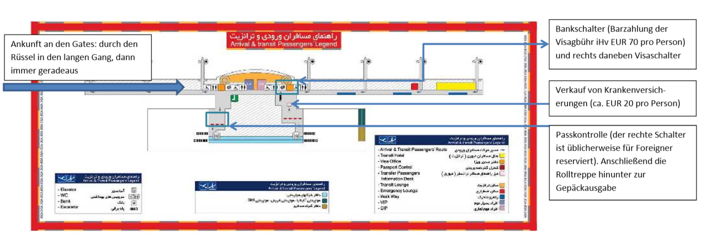 Karte des Ankunftsbereichs am Imam Khomeini International Airport in Teheran mit Erklärung des Visa-Prozedere