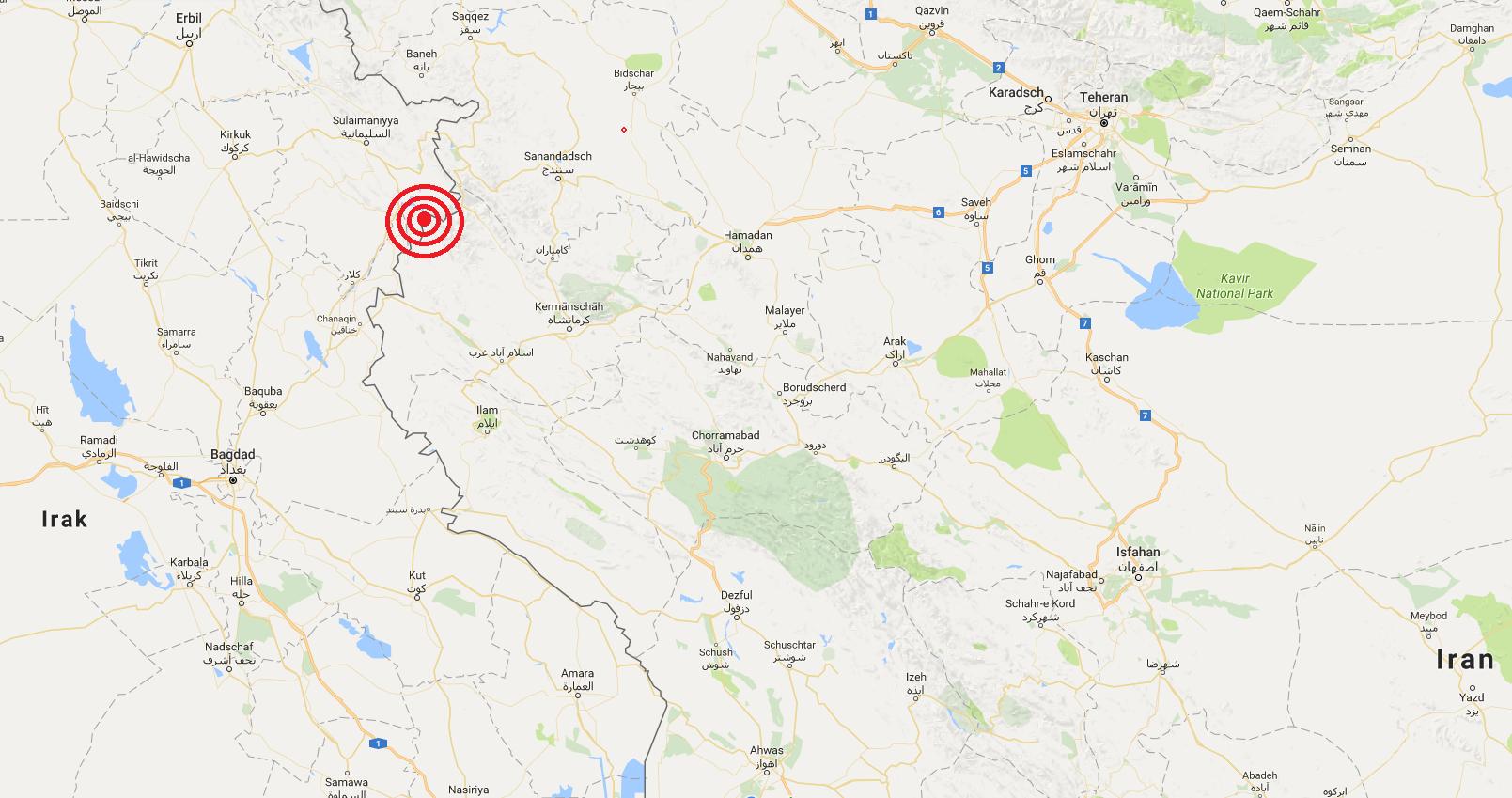 Erdbeben im Westiran Epizentrum