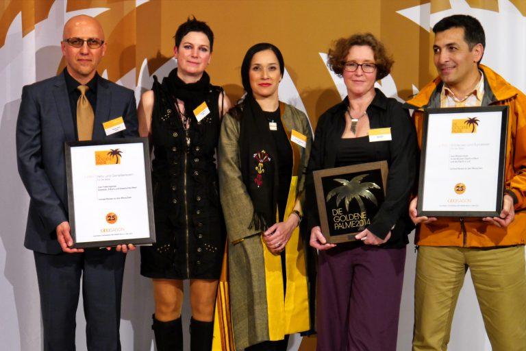 Preisverleihung Goldene Palme 2014 mit Julietta Baums von nomad-Reisen, Partnern und Kollegen