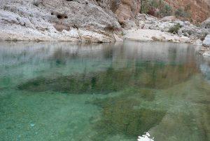 Wasserbecken zwischen den Felsen im Wadi Shab